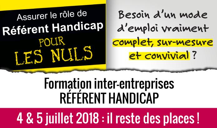 Formation inter-entreprises référent handicap : 4 et 5 juillet 2018